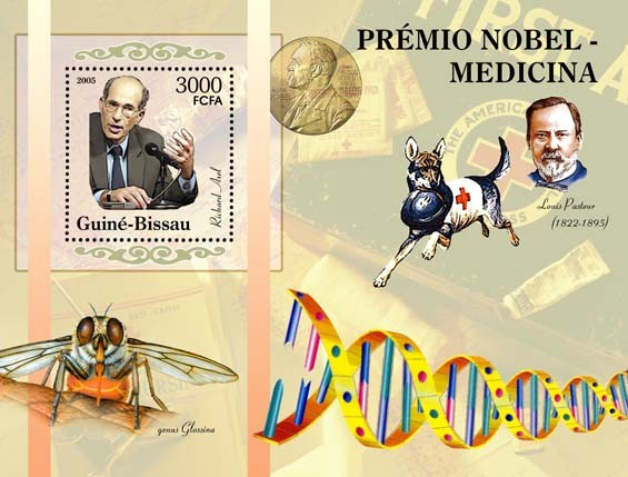 Nobel Prize Winners  - Medicine - Souvenir sheet Richard Axel, L. Pasteur, Red Cross S/s 3000 - Issue of Guinée-Bissau postage stamps