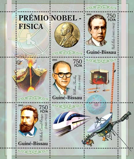 Nobel Prize Winners - Physics - SheetletW. C. Roentgen, W. Schockley, N. Bohr, train 3v x 750 - Issue of Guinée-Bissau postage stamps