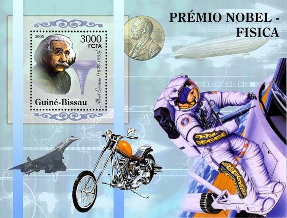 Nobel Prize Winners - Physics - Souvenir SheetA. Einstein, space, Concorde, motorcycle S/s 3000 - Issue of Guinée-Bissau postage stamps