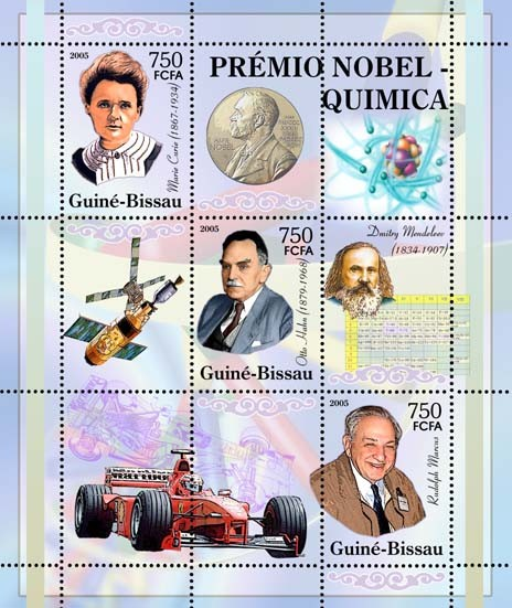 Nobel Prize Winners - Chemistry - SheetletMarie Curie, O. Hahn, R. Marcus, D. Mendeleew, space, Formula 3v x 750 - Issue of Guinée-Bissau postage stamps