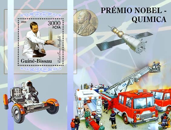 Nobel Prize Winners - Chemistry - Souvenir Sheet R. B. Merifield, space, fire engines S/s 3000 - Issue of Guinée-Bissau postage stamps
