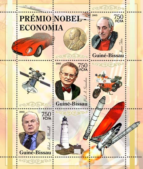 Nobel Prize Winners - Economics - SheetletR. A. Mundell, P. A. Samuelson, J. Jobin, space, Ferrari, Concorde, motorcycle, lighthouse 3v x 750 - Issue of Guinée-Bissau postage stamps