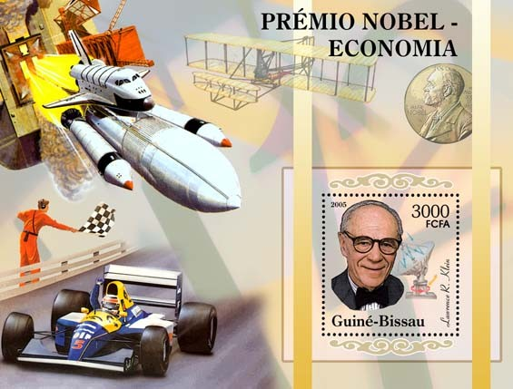 Nobel Prize Winners - Economics - Souvenir SheetL. R. Klein, space, Ferrari S/s 3000 - Issue of Guinée-Bissau postage stamps