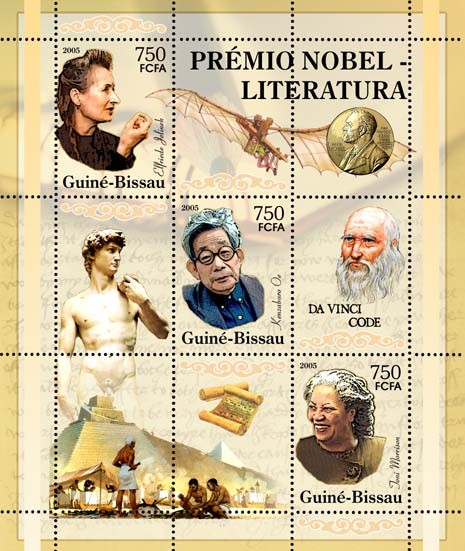Nobel Prize Winners - Literature - SheetletE. Jelinek, K. Oe, J. Morrison, Michelangelo, Pyramids of Egypt, Da Vinci & Da Vinci Code 3v x 750 - Issue of Guinée-Bissau postage stamps