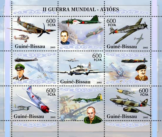 II World War - Military Aviation - Sheetlet 5v x 600 - Issue of Guinée-Bissau postage stamps