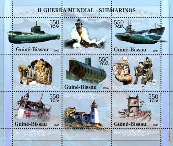 II World War - Submarines (+lighthouses) - Sheetlet 5v x 550 - Issue of Guinée-Bissau postage stamps