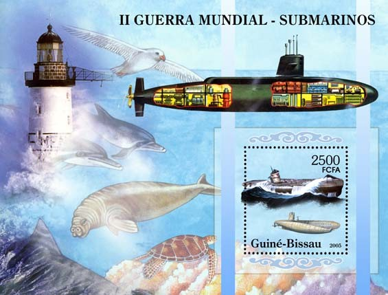 II World War - Submarines (lighthouses & sea fauna) - Issue of Guinée-Bissau postage stamps
