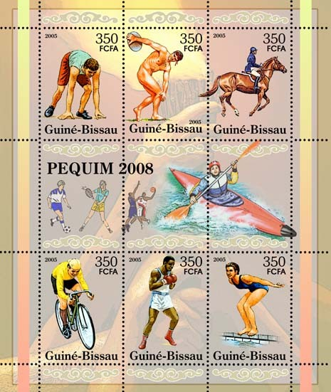 Prelude to Olympiad in Beijing / Peking - SheetletRunning, disc, equestrian, cycling, boxing, aquatics football, volleyball, canoe 6v x 350 - Issue of Guinée-Bissau postage stamps