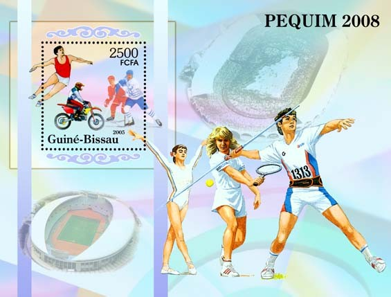 Prelude to Olympiad in Beijing / Peking Athletics, tennis, etc. S/s 3500 - Issue of Guinée-Bissau postage stamps