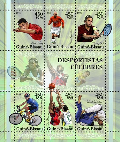 Famous sportsmen - sheetletTable tennis, football - Beckham, tennis - Fish, cycling - Armstrong, basketball - Duncan, wrestling, etc. 6v x 450 - Issue of Guinée-Bissau postage stamps