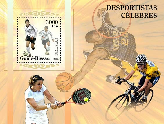 Famous sportsmenFootball - Ballack, tennis, basketball, cycling S/s 3000 - Issue of Guinée-Bissau postage stamps