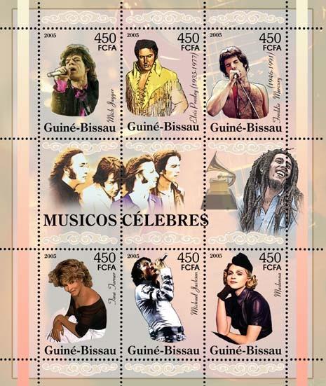 Famous pop stars - sheetletM. Jagger, E. Presley, F. Mercury, T. Turner, M. Jackson, Madonna 6v x 450 - Issue of Guinée-Bissau postage stamps