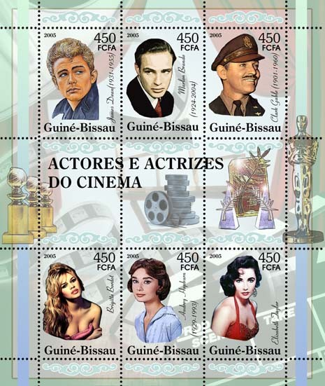 Cinema: actors & actresses: J. Dean, M. Brando, C. Gable, B. Bardot, A. Hepburn, E. Taylor 6v x 450 - Issue of Guinée-Bissau postage stamps