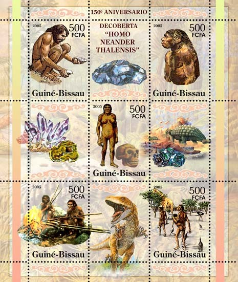 150th Anniversary Discovery of Neandertal ManPrehistoric Humans & Animals, Minerals 5v x 500 - Issue of Guinée-Bissau postage stamps