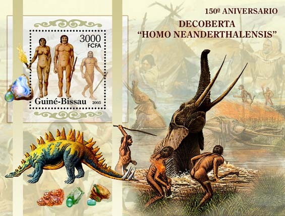 150th Anniversary Discovery of Neandertal ManPrehistoric Humans & Animals, Minerals S/s 3000 - Issue of Guinée-Bissau postage stamps