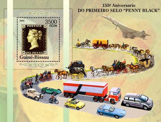 155th Anniversary of First Postage Stamp Penny Black?ᄁ?ツᆲ?トᄁ : history of transport to deliver the post S/s 3500 - Issue of Guinée-Bissau postage stamps