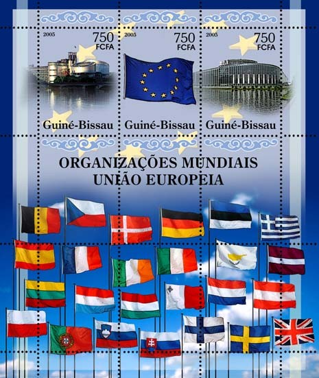 World Organizations - Europian Union - Sheetlet25 member flags, EuroParlament, Flag, Co 3v x 750 - Issue of Guinée-Bissau postage stamps