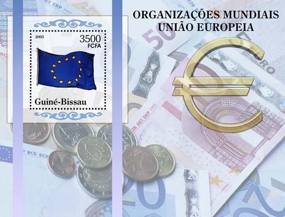 World Organizations - Europian UnionFlag of EC & Euro currency (papermoney & coins) S/s 3500 - Issue of Guinée-Bissau postage stamps