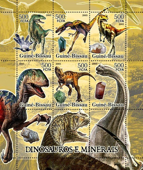 Dinosaurs & Minerals 6v x 500 - Issue of Guinée-Bissau postage stamps