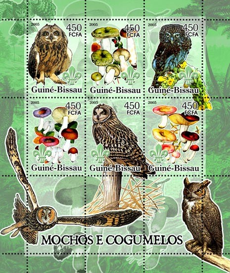 Owls & Mushrooms 6v x 450 - Issue of Guinée-Bissau postage stamps
