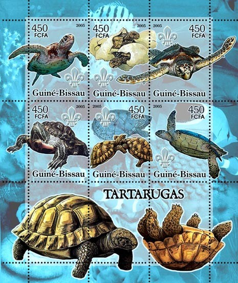 Turtles & Scouts Logo (+oceanic fish) 6v x 450 - Issue of Guinée-Bissau postage stamps
