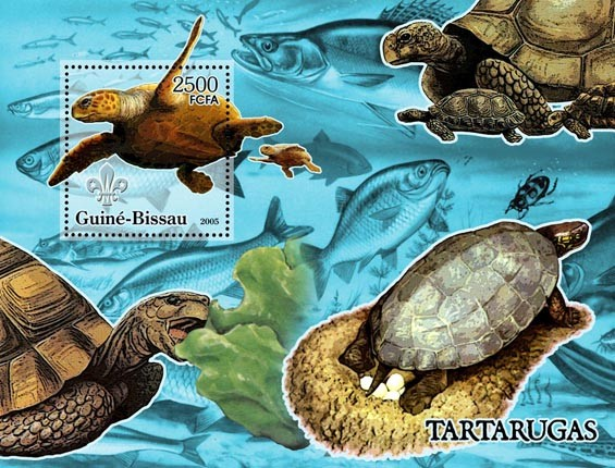 Turtles & Scouts Logo (+oceanic fish) S/s 2500 - Issue of Guinée-Bissau postage stamps