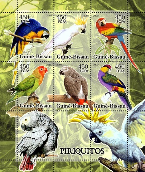 Parrots 6v x 450 - Issue of Guinée-Bissau postage stamps