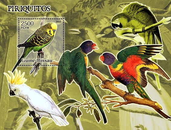 Parrots S/s 2500 - Issue of Guinée-Bissau postage stamps