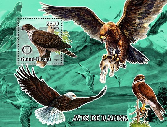 Birds of Prey & Rotary S/s 2500 - Issue of Guinée-Bissau postage stamps