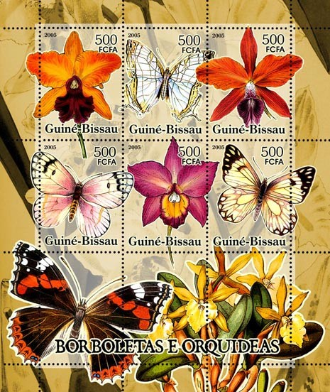 Butterflies & Orchids 6v x 500 - Issue of Guinée-Bissau postage stamps