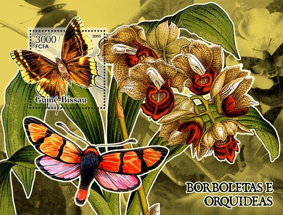 Butterflies & Orchids S/s 3000 - Issue of Guinée-Bissau postage stamps