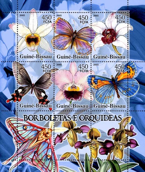 Butterflies & Orchids 6v x 450 - Issue of Guinée-Bissau postage stamps
