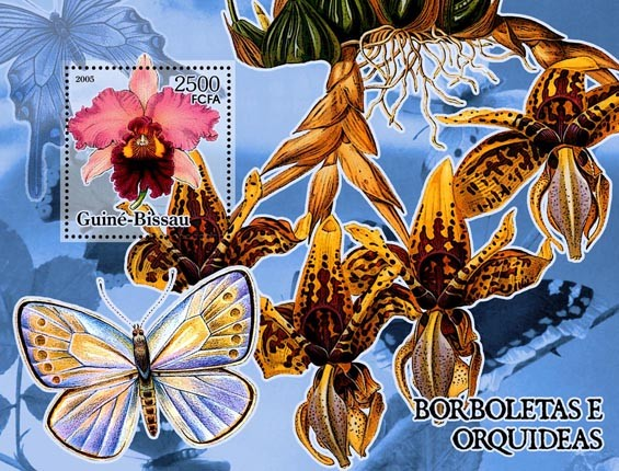 Butterflies & Orchids S/s 2500 - Issue of Guinée-Bissau postage stamps