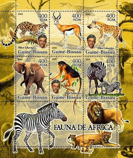 Fauna of Africa & A. Schweitzer  6v x 400 - Issue of Guinée-Bissau postage stamps