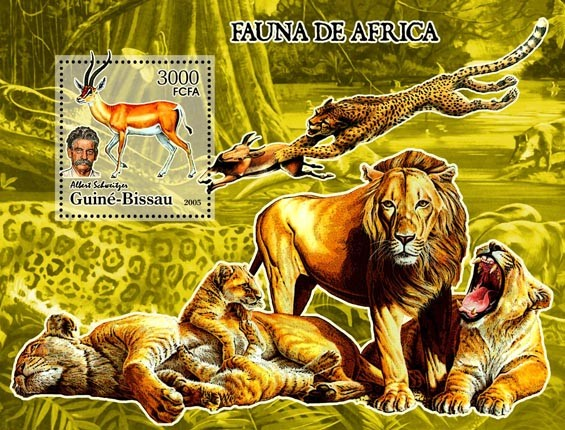 Fauna of Africa & A. Schweitzer  S/s 3000 - Issue of Guinée-Bissau postage stamps