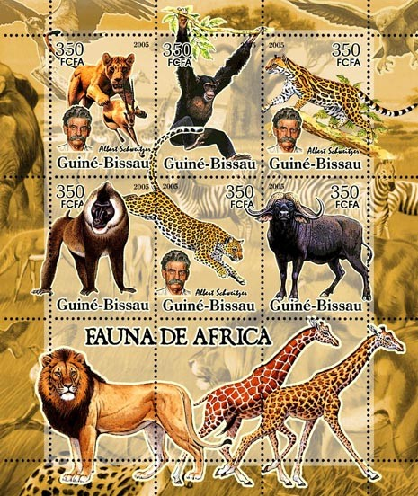 Fauna of Africa & A. Schweitzer  6v x 350 - Issue of Guinée-Bissau postage stamps