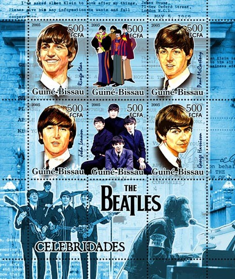 Celebrities - The Beatles 6v x 500 - Issue of Guinée-Bissau postage stamps