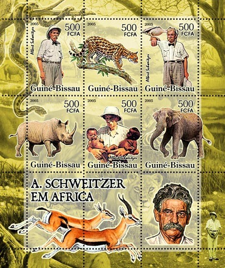 A. Schweitzer in Africa (animals) 6v x 500 - Issue of Guinée-Bissau postage stamps