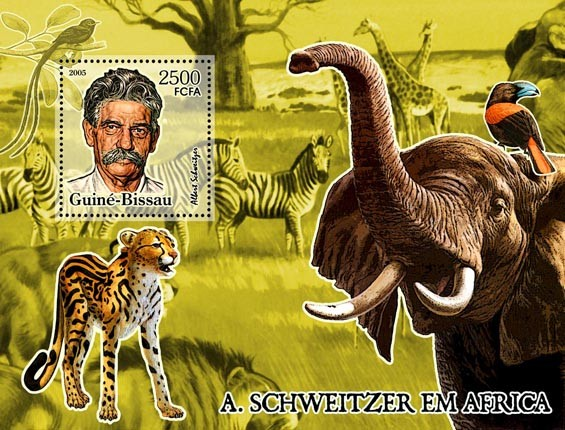 A. Schweitzer in Africa (animals) S/s 2500 - Issue of Guinée-Bissau postage stamps