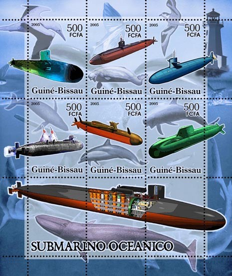 Submarines (+lighthouse & sea birds) 6v x 500 - Issue of Guinée-Bissau postage stamps