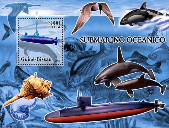 Submarines (+sea birds, fish, dolphins, shell) S/s 3000 - Issue of Guinée-Bissau postage stamps