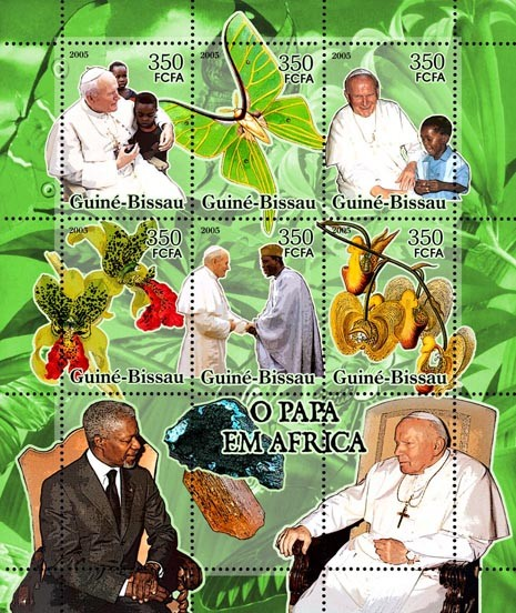 Pope in Africa (+ butterflies, ordchids, minerals) 6v x 350 - Issue of Guinée-Bissau postage stamps