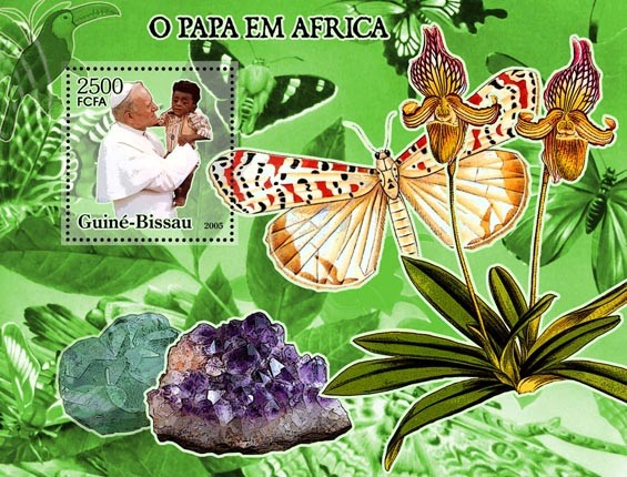 Pope in Africa (+ butterflies, ordchids, minerals) S/s 2500 - Issue of Guinée-Bissau postage stamps