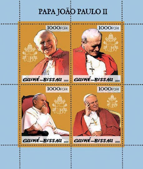 Pope John Paul II - II 4v x 1000 - Issue of Guinée-Bissau postage stamps