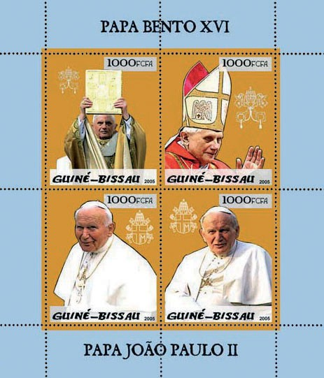 Pope Benedict & Pope John Paul 4v x 1000 - Issue of Guinée-Bissau postage stamps