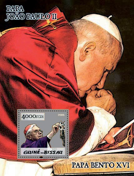 Pope Benedict & Pope John Paul S/s 4000 - Issue of Guinée-Bissau postage stamps