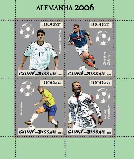Football Germany 2006 4v x 1000 - Issue of Guinée-Bissau postage stamps