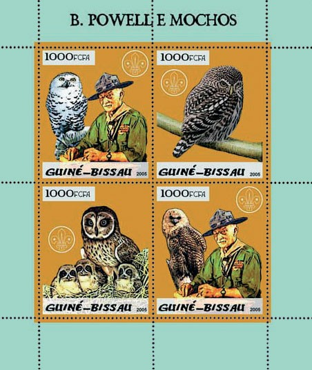 B. Powell (scouts) & owls 4v x 1000 - Issue of Guinée-Bissau postage stamps