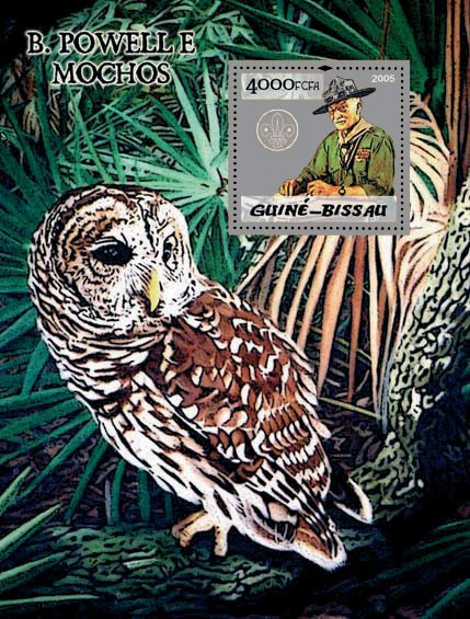 B. Powell (scouts) & owls S/s 4000 - Issue of Guinée-Bissau postage stamps