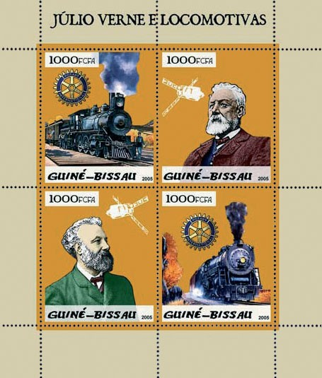 Steam trains & Jules Verne 4v x 1000 - Issue of Guinée-Bissau postage stamps